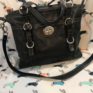"Black leather Coach crossbody bag ""Chelsea"""